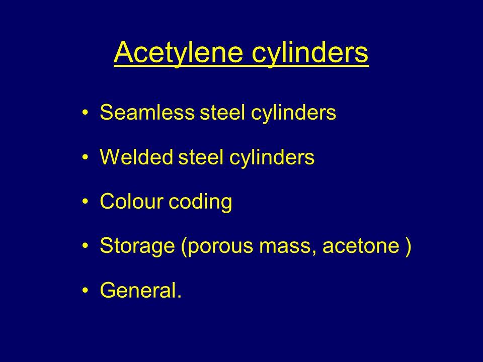Acetylene Spontaneous ignition temp 335° C Critical temperature 35.2° C Flammability limits 2.5% - 80% Flame temperature 2325° C.