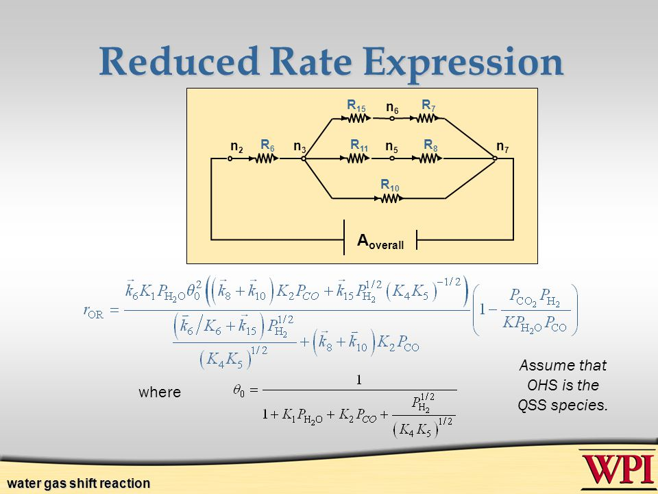 Reduced Rate Expression where Assume that OHS is the QSS species. A overall R 10 R8R8 R 11 R6R6 R7R7 n2n2 n3n3 n5n5 n6n6 n7n7 R 15 water gas shift rea