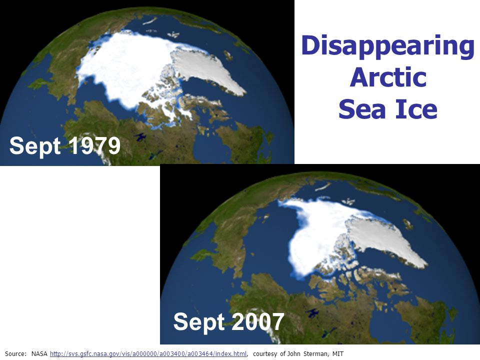 Disappearing Arctic Sea Ice Source: NASA http://svs.gsfc.nasa.gov/vis/a000000/a003400/a003464/index.html, courtesy of John Sterman, MIThttp://svs.gsfc.nasa.gov/vis/a000000/a003400/a003464/index.html Sept 1979 Sept 2007