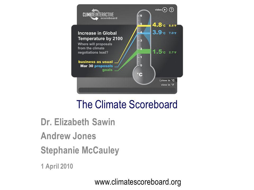 Dr. Elizabeth Sawin Andrew Jones Stephanie McCauley 1 April 2010 www.climatescoreboard.org The Climate Scoreboard