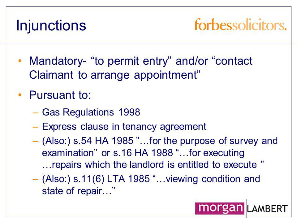 Non-Legal Tips Forward planning with: EHOs, social services, police, etc Anticipate vulnerable / disabled / aggressive tenants Magistrates – brief them / the chief clerk in advance if possible Other area landlords