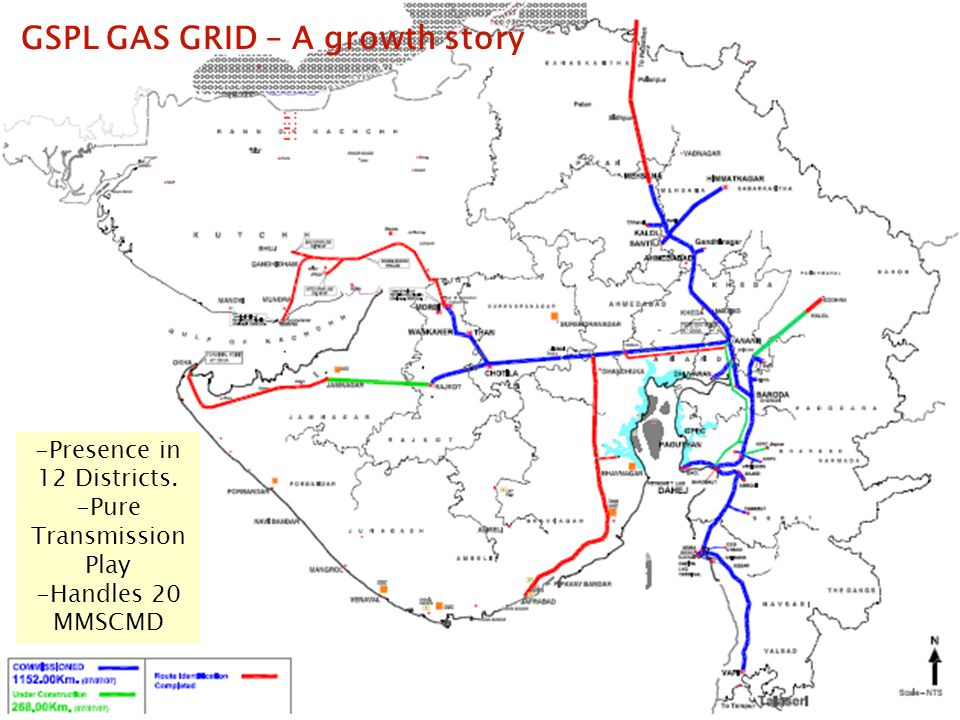 16 of 20 GSPL GAS GRID – A growth story -Presence in 12 Districts. -Pure Transmission Play -Handles 20 MMSCMD