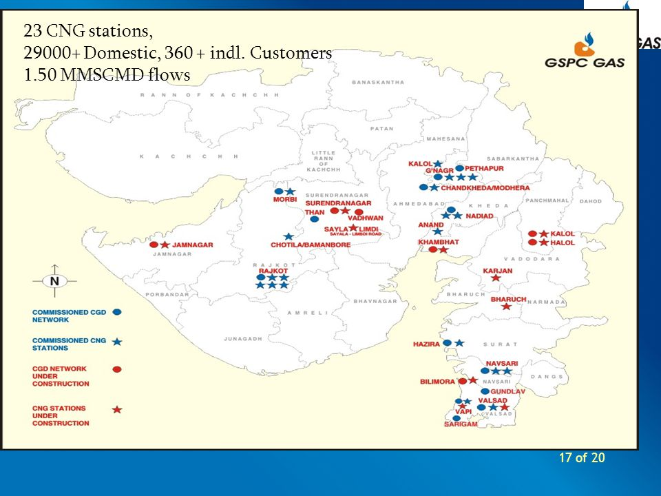 17 of 20 23 CNG stations, 29000+ Domestic, 360 + indl. Customers 1.50 MMSCMD flows