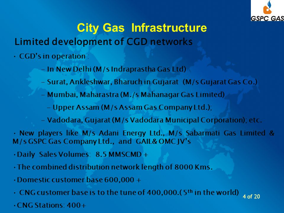 4 of 20 City Gas Infrastructure Limited development of CGD networks CGDs in operation : - In New Delhi (M/s Indraprastha Gas Ltd) - Surat, Ankleshwar,