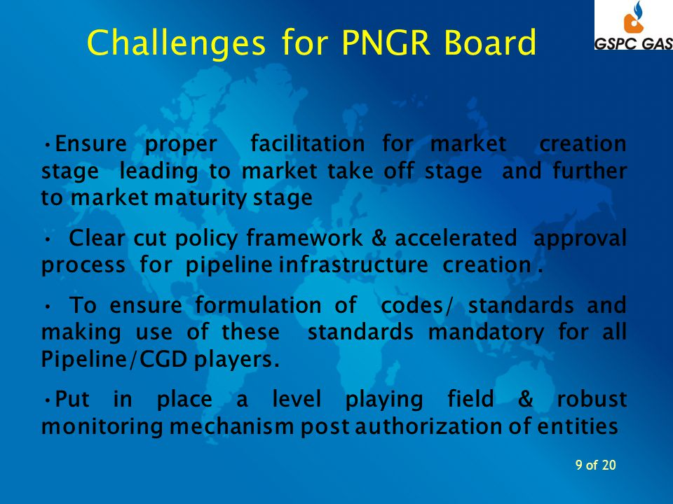 9 of 20 Challenges for PNGR Board Ensure proper facilitation for market creation stage leading to market take off stage and further to market maturity