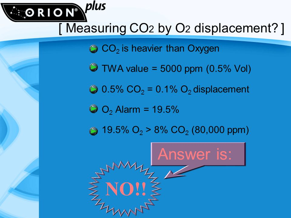 CO 2 is heavier than Oxygen TWA value = 5000 ppm (0.5% Vol) 0.5% CO 2 = 0.1% O 2 displacement O 2 Alarm = 19.5% 19.5% O 2 > 8% CO 2 (80,000 ppm) NO!.
