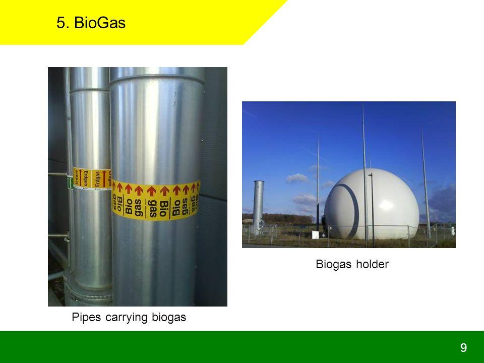 9 5. BioGas Pipes carrying biogas Biogas holder