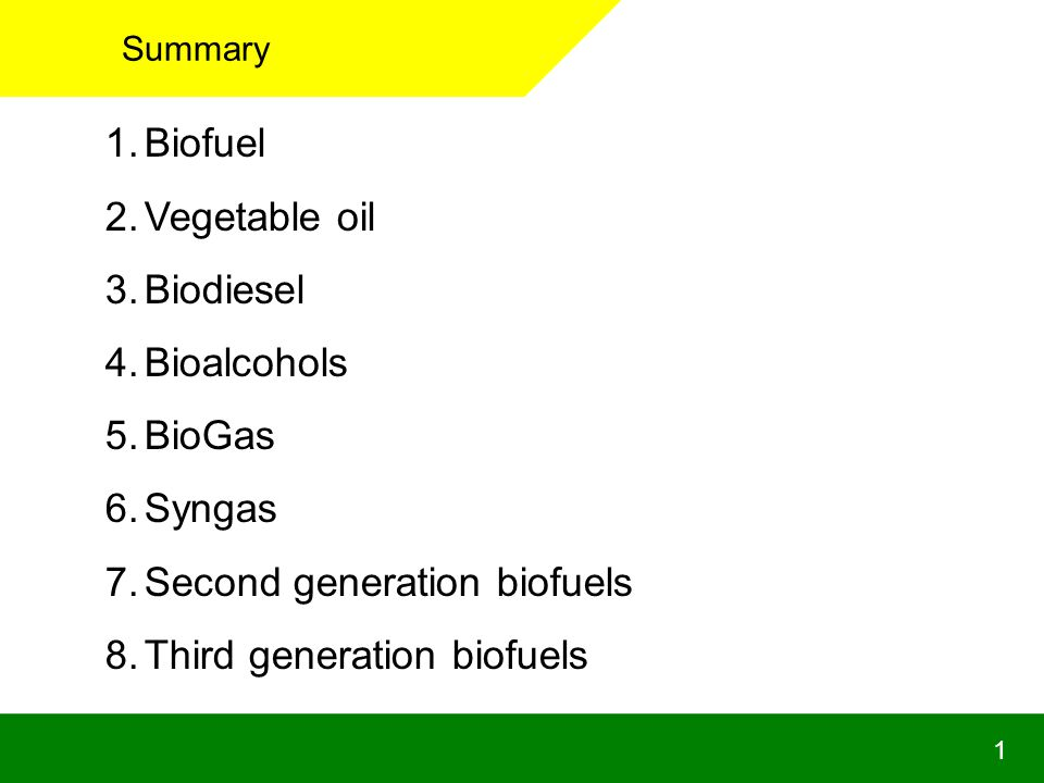 1 Summary 1.Biofuel 2.Vegetable oil 3.Biodiesel 4.Bioalcohols 5.BioGas 6.Syngas 7.Second generation biofuels 8.Third generation biofuels