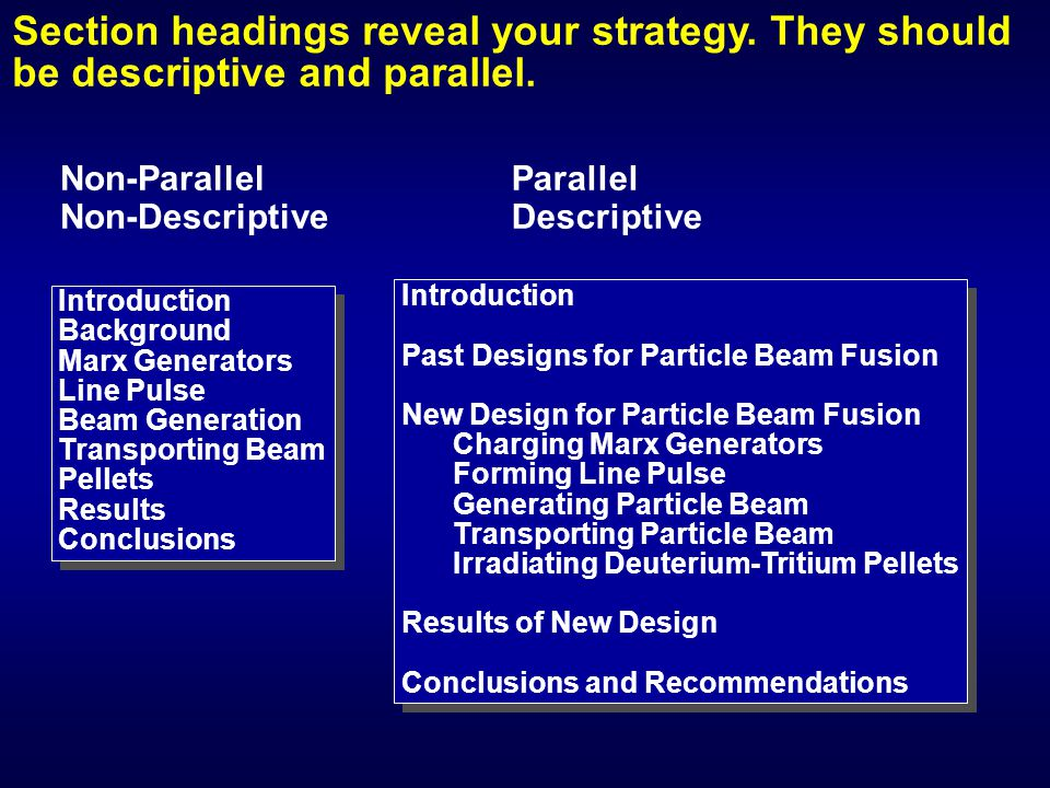 Section headings reveal your strategy. They should be descriptive and parallel. Non-Parallel Non-Descriptive Introduction Background Marx Generators L
