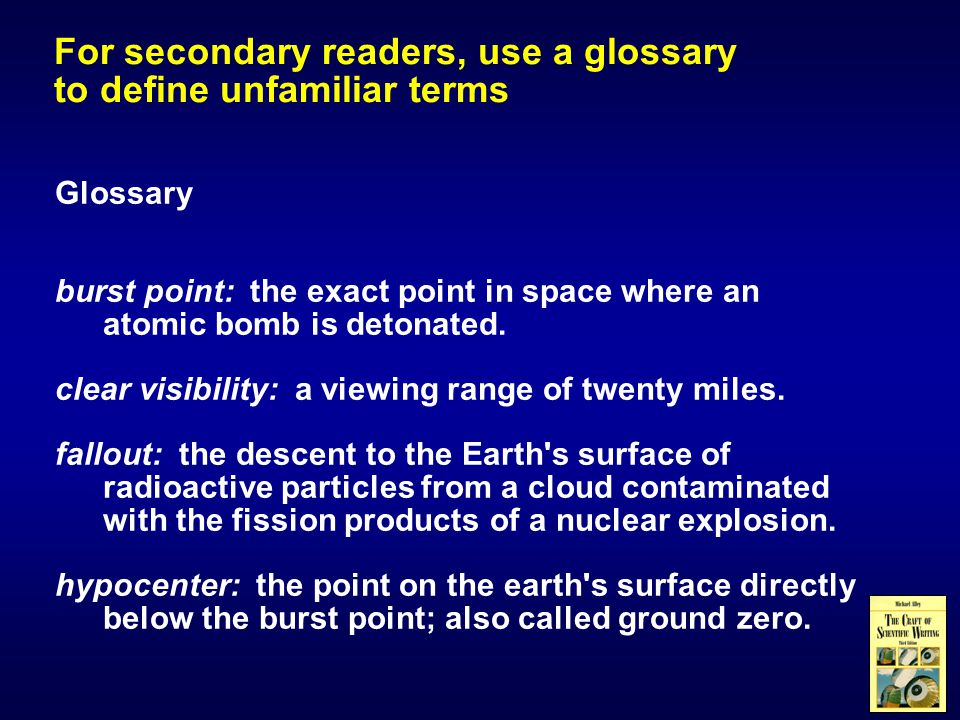 Glossary burst point: the exact point in space where an atomic bomb is detonated.