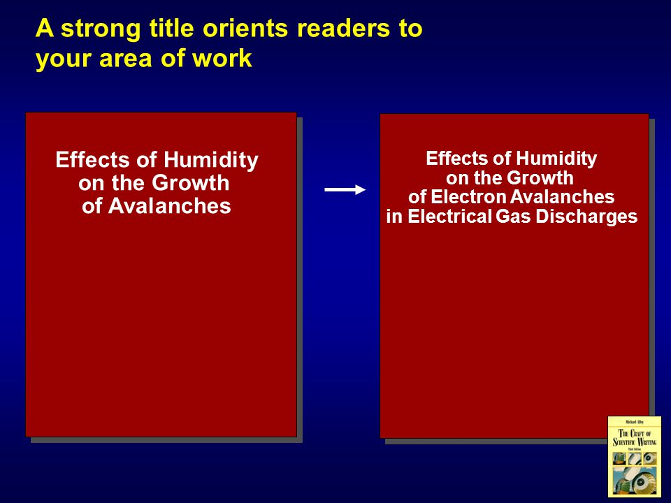 A strong title orients readers to your area of work Effects of Humidity on the Growth of Avalanches Effects of Humidity on the Growth of Electron Avalanches in Electrical Gas Discharges