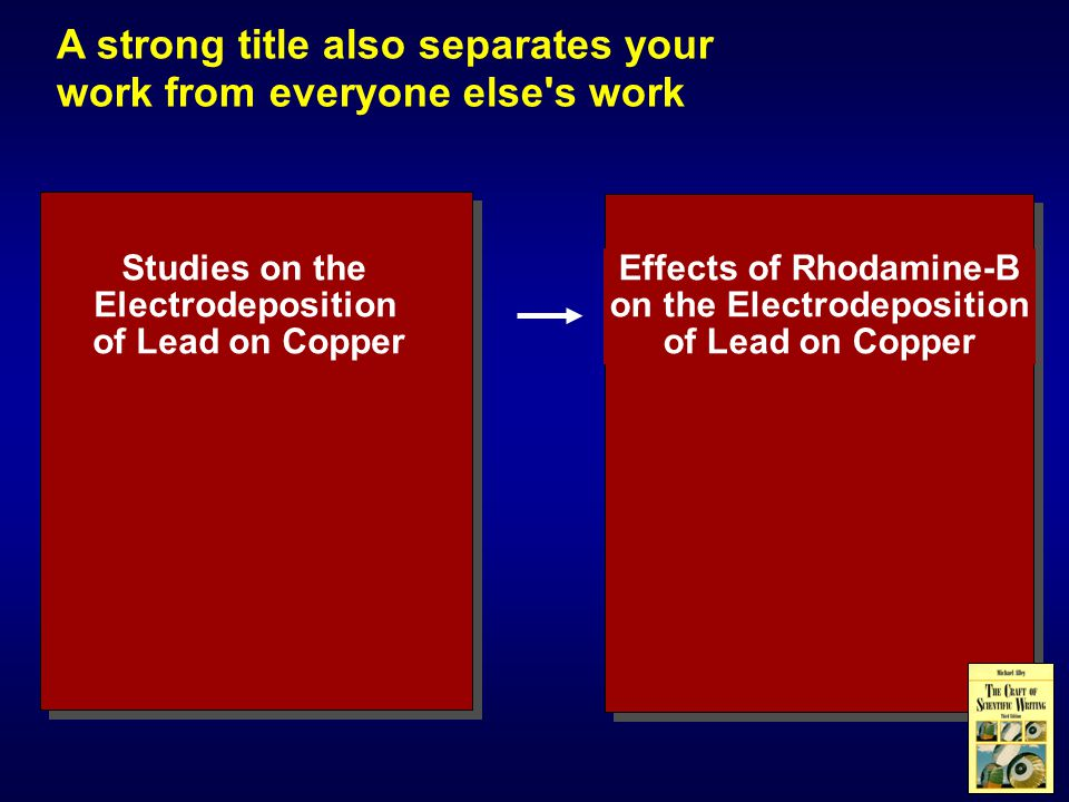 A strong title also separates your work from everyone else s work Studies on the Electrodeposition of Lead on Copper Effects of Rhodamine-B on the Electrodeposition of Lead on Copper