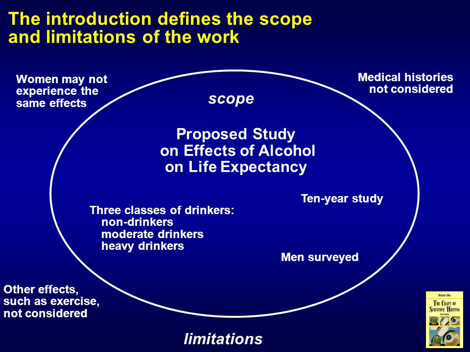 The introduction defines the scope and limitations of the work Proposed Study on Effects of Alcohol on Life Expectancy Three classes of drinkers: non-drinkers moderate drinkers heavy drinkers Ten-year study Other effects, such as exercise, not considered Medical histories not considered Women may not experience the same effects Men surveyed scope limitations