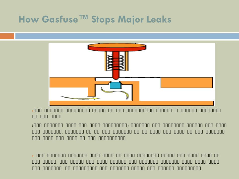 How Gasfuse Stops Major Leaks The shutoff mechanism works on the Bernouilli effect. A sudden increase in gas flow ( for example from the hose rupturin