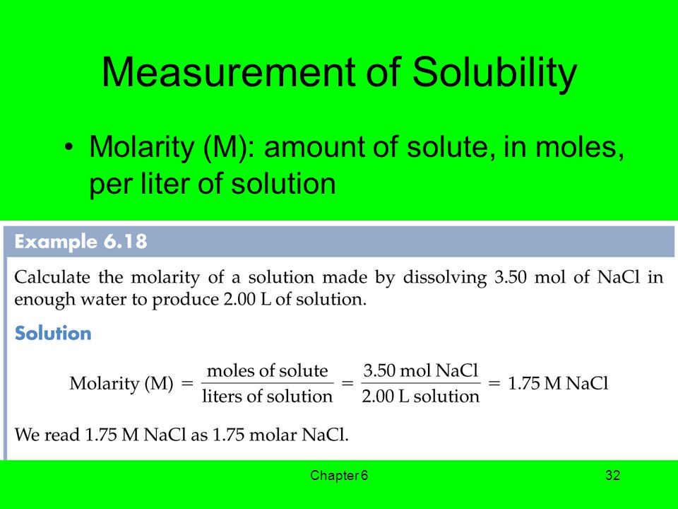 Chapter 632 Measurement of Solubility Molarity (M): amount of solute, in moles, per liter of solution