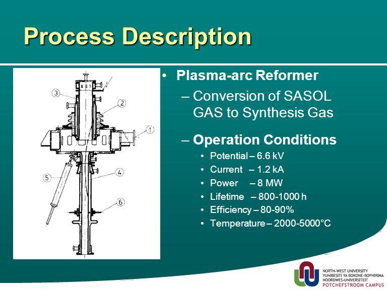 8 Process Description Plasma-arc Reformer –Conversion of SASOL GAS to Synthesis Gas –Operation Conditions Potential – 6.6 kV Current – 1.2 kA Power – 8 MW Lifetime – 800-1000 h Efficiency – 80-90% Temperature – 2000-5000°C