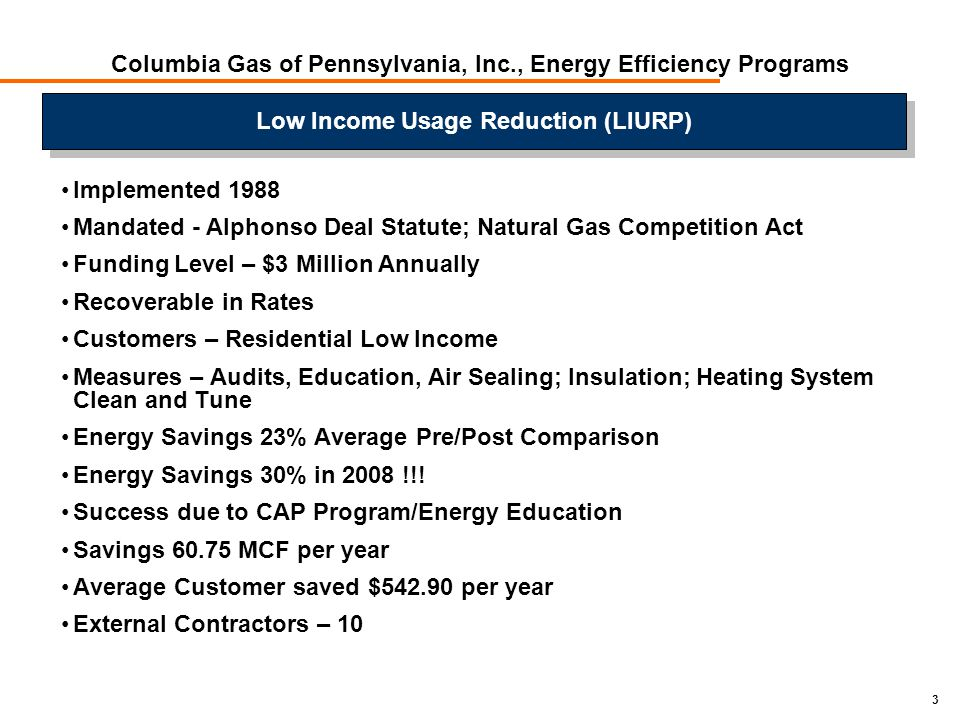 3 Columbia Gas of Pennsylvania, Inc., Energy Efficiency Programs Implemented 1988 Mandated - Alphonso Deal Statute; Natural Gas Competition Act Funding Level – $3 Million Annually Recoverable in Rates Customers – Residential Low Income Measures – Audits, Education, Air Sealing; Insulation; Heating System Clean and Tune Energy Savings 23% Average Pre/Post Comparison Energy Savings 30% in 2008 !!.