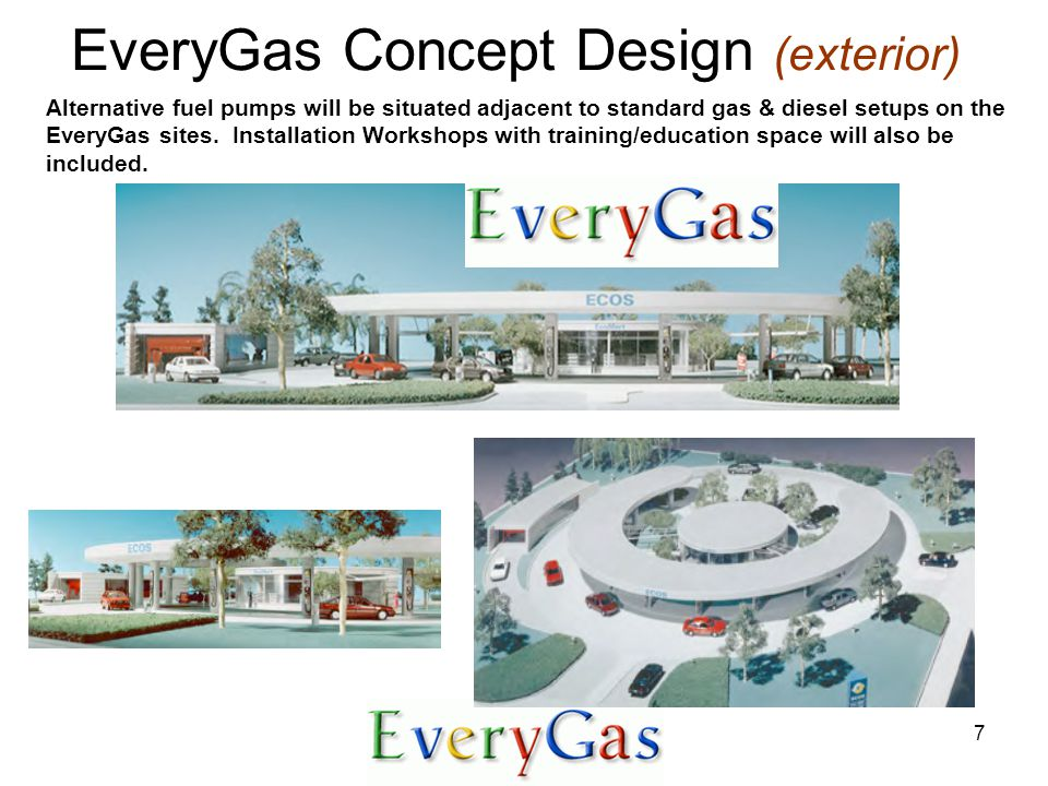 7 Alternative fuel pumps will be situated adjacent to standard gas & diesel setups on the EveryGas sites.