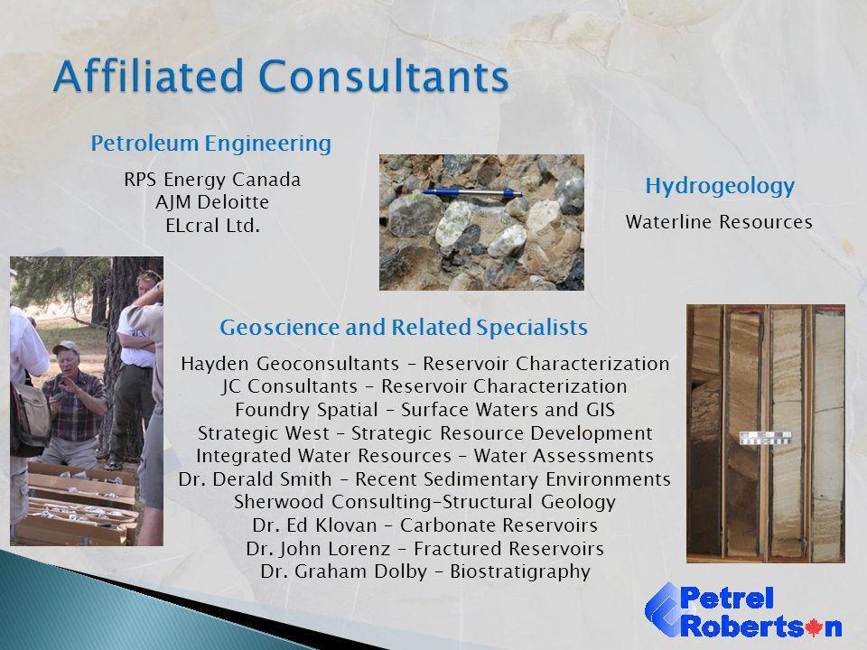 Hydrogeology Waterline Resources Geoscience and Related Specialists Hayden Geoconsultants – Reservoir Characterization JC Consultants – Reservoir Char