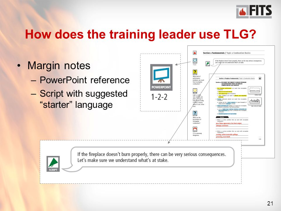 21 How does the training leader use TLG.