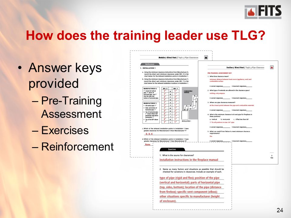 24 How does the training leader use TLG.