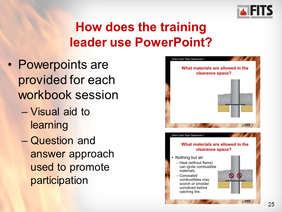 25 How does the training leader use PowerPoint.