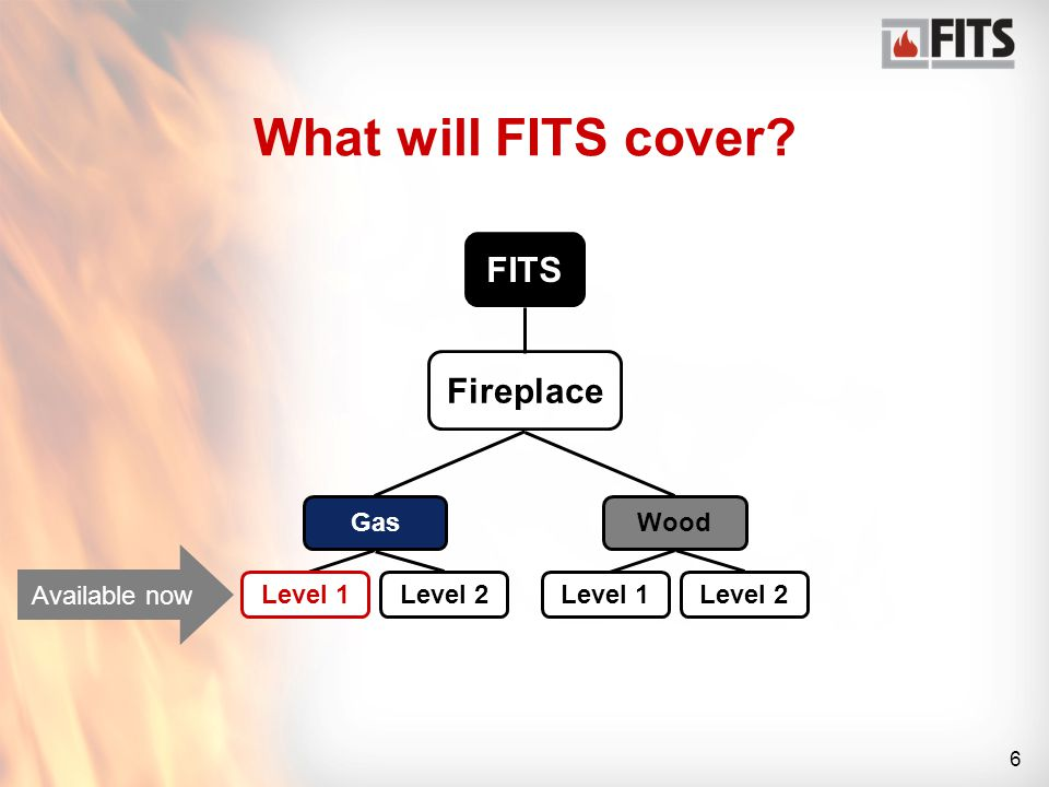 6 What will FITS cover FITS Fireplace GasWood Level 1Level 2 Level 1Level 2 Available now