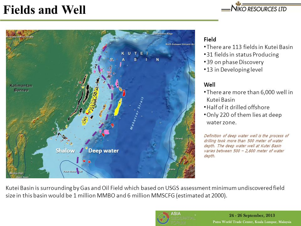 Fields and Well Field There are 113 fields in Kutei Basin 31 fields in status Producing 39 on phase Discovery 13 in Developing level Well There are more than 6,000 well in Kutei Basin Half of it drilled offshore Only 220 of them lies at deep water zone.