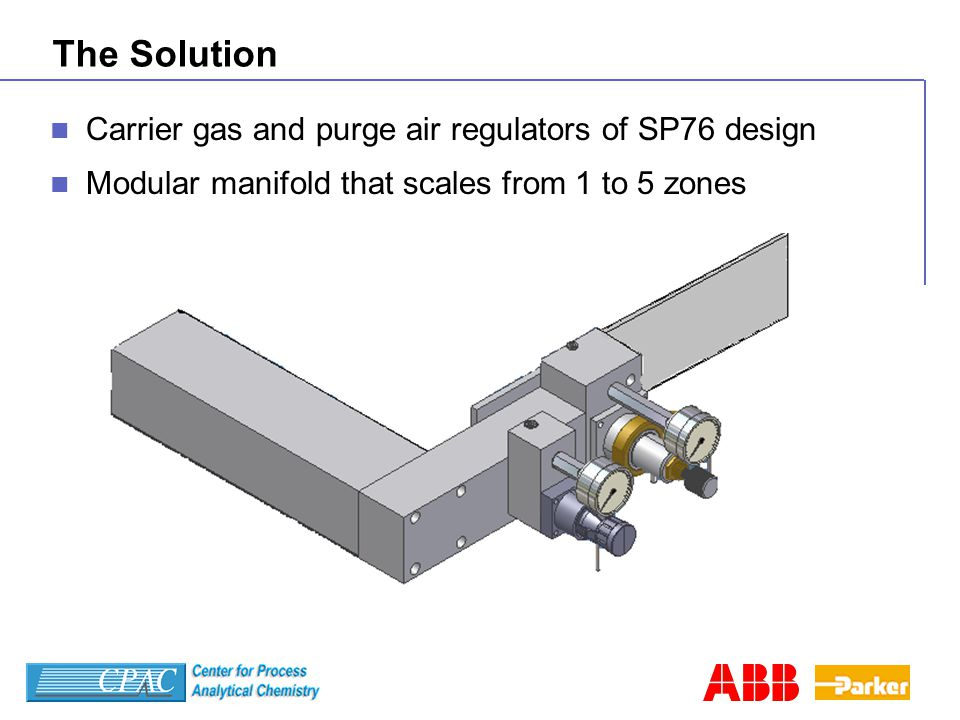 The Solution Carrier gas and purge air regulators of SP76 design Modular manifold that scales from 1 to 5 zones