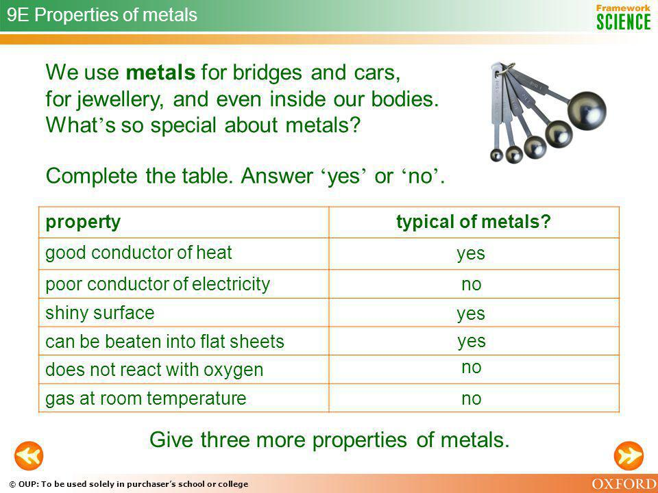© OUP: To be used solely in purchasers school or college We use metals for bridges and cars, for jewellery, and even inside our bodies. What s so spec