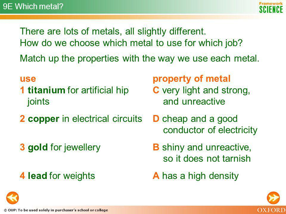 © OUP: To be used solely in purchasers school or college 9E Which metal? There are lots of metals, all slightly different. How do we choose which meta