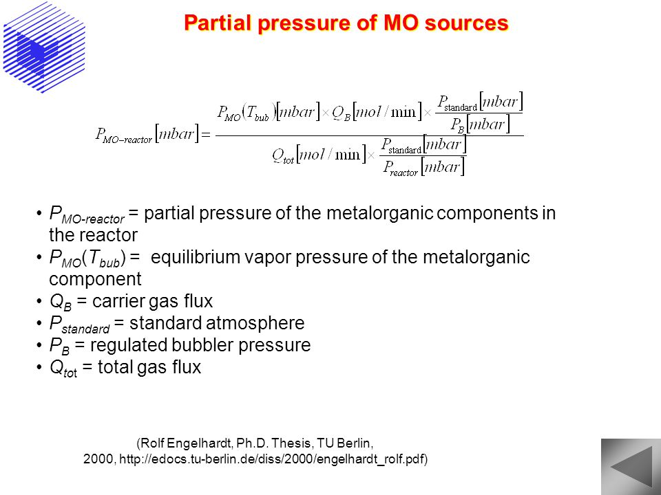 Partial pressure of MO sources P MO-reactor = partial pressure of the metalorganic components in the reactor P MO (T bub ) = equilibrium vapor pressure of the metalorganic component Q B = carrier gas flux P standard = standard atmosphere P B = regulated bubbler pressure Q tot = total gas flux (Rolf Engelhardt, Ph.D.
