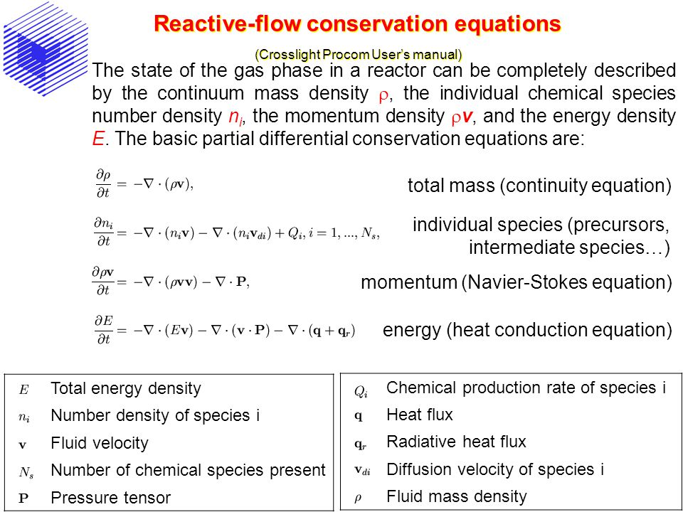 Reactive-flow conservation equations (Crosslight Procom Users manual) The state of the gas phase in a reactor can be completely described by the continuum mass density, the individual chemical species number density n i, the momentum density v, and the energy density E.