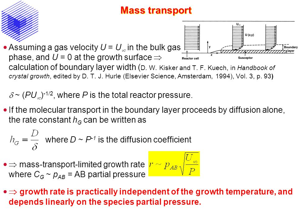 Mass transport Assuming a gas velocity U = U in the bulk gas phase, and U = 0 at the growth surface calculation of boundary layer width ( D.
