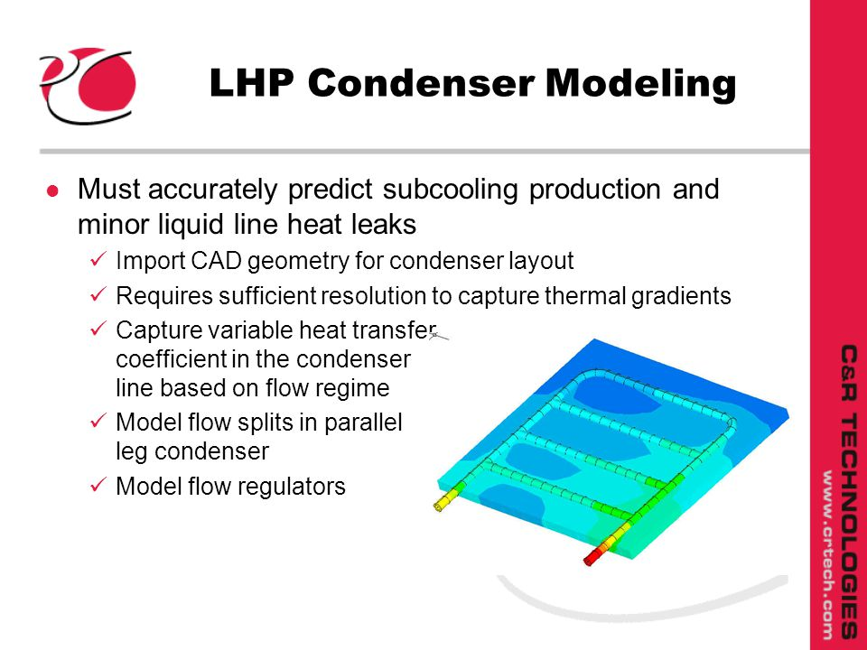 l Must accurately predict subcooling production and minor liquid line heat leaks Import CAD geometry for condenser layout Requires sufficient resolution to capture thermal gradients Capture variable heat transfer coefficient in the condenser line based on flow regime Model flow splits in parallel leg condenser Model flow regulators LHP Condenser Modeling