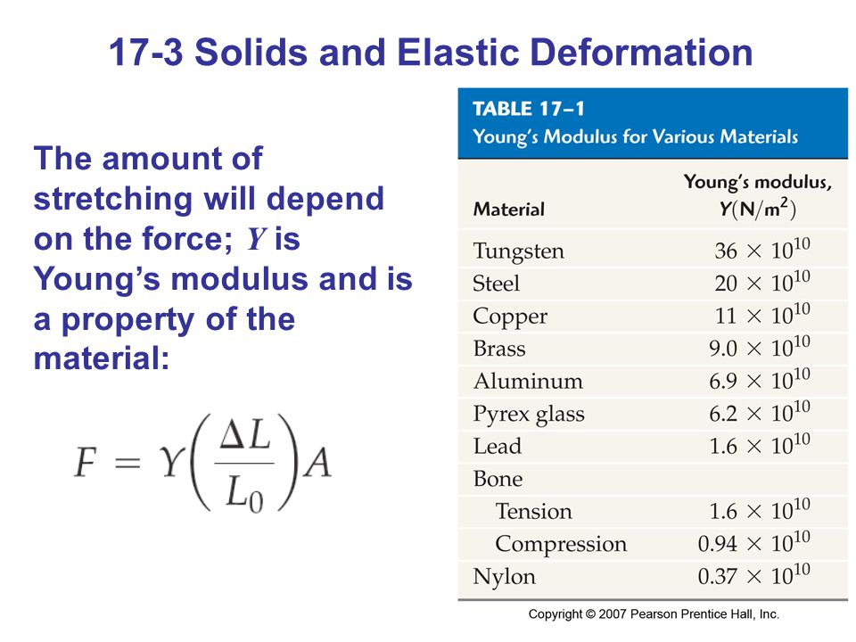 17-3 Solids and Elastic Deformation The amount of stretching will depend on the force; Y is Youngs modulus and is a property of the material: