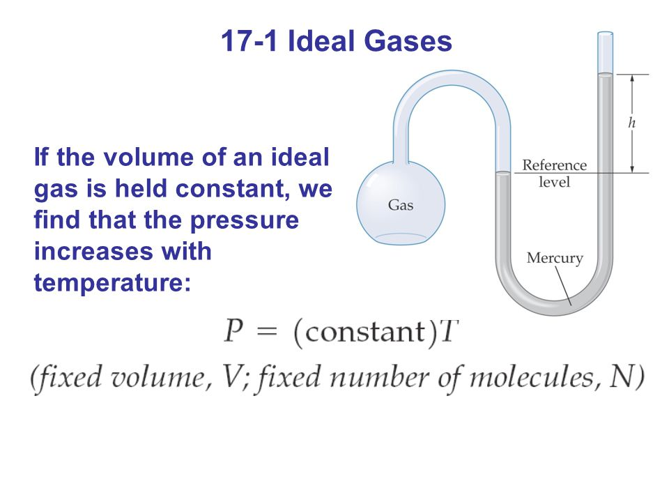 If the volume of an ideal gas is held constant, we find that the pressure increases with temperature: 17-1 Ideal Gases