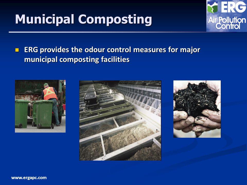 www.ergapc.com Municipal Composting ERG provides the odour control measures for major municipal composting facilities ERG provides the odour control m