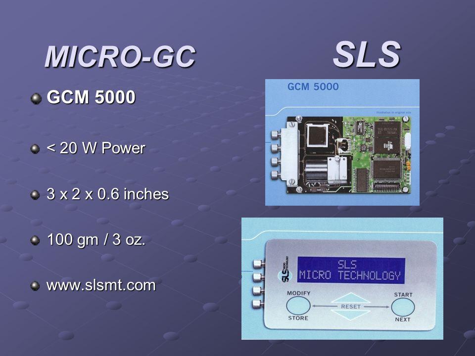 MICRO-GC SLS GCM 5000 < 20 W Power 3 x 2 x 0.6 inches 100 gm / 3 oz. www.slsmt.com
