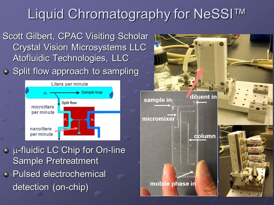 Liquid Chromatography for NeSSI micromixer diluent in column mobile phase in sample in Scott Gilbert, CPAC Visiting Scholar Crystal Vision Microsystems LLC Atofluidic Technologies, LLC Split flow approach to sampling -fluidic LC Chip for On-line Sample Pretreatment -fluidic LC Chip for On-line Sample Pretreatment Pulsed electrochemical detection (on-chip) Liters per minute microliters per minute nanoliters per minute