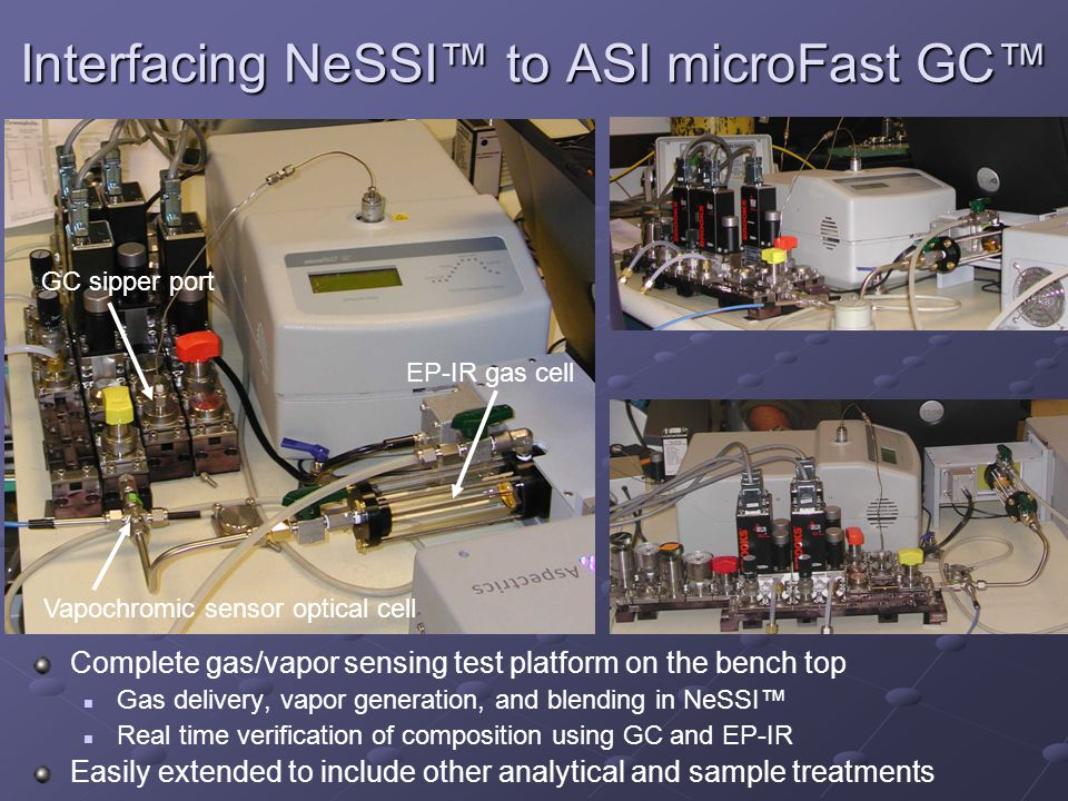 Interfacing NeSSI to ASI microFast GC Complete gas/vapor sensing test platform on the bench top Gas delivery, vapor generation, and blending in NeSSI Real time verification of composition using GC and EP-IR Easily extended to include other analytical and sample treatments Vapochromic sensor optical cell GC sipper port EP-IR gas cell