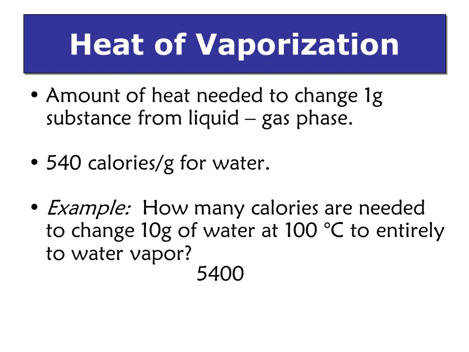 Amount of heat needed to change 1g substance from liquid – gas phase.