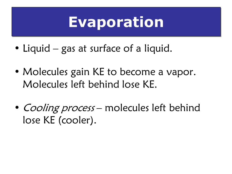 Liquid – gas at surface of a liquid.Molecules gain KE to become a vapor.