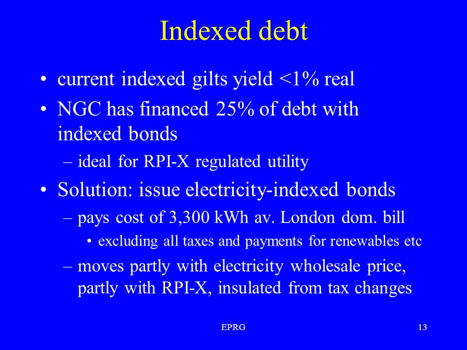 EPRG13 Indexed debt current indexed gilts yield <1% real NGC has financed 25% of debt with indexed bonds –ideal for RPI-X regulated utility Solution: issue electricity-indexed bonds –pays cost of 3,300 kWh av.