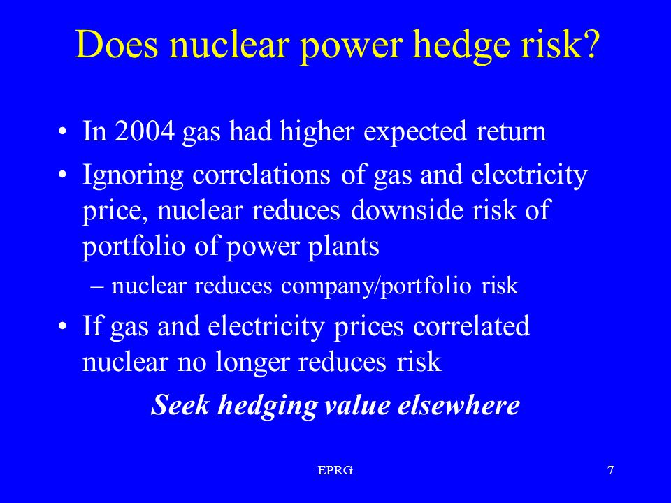EPRG7 Does nuclear power hedge risk.