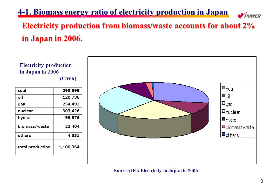 18 Electricity production from biomass/waste accounts for about 2% in Japan in 2006.