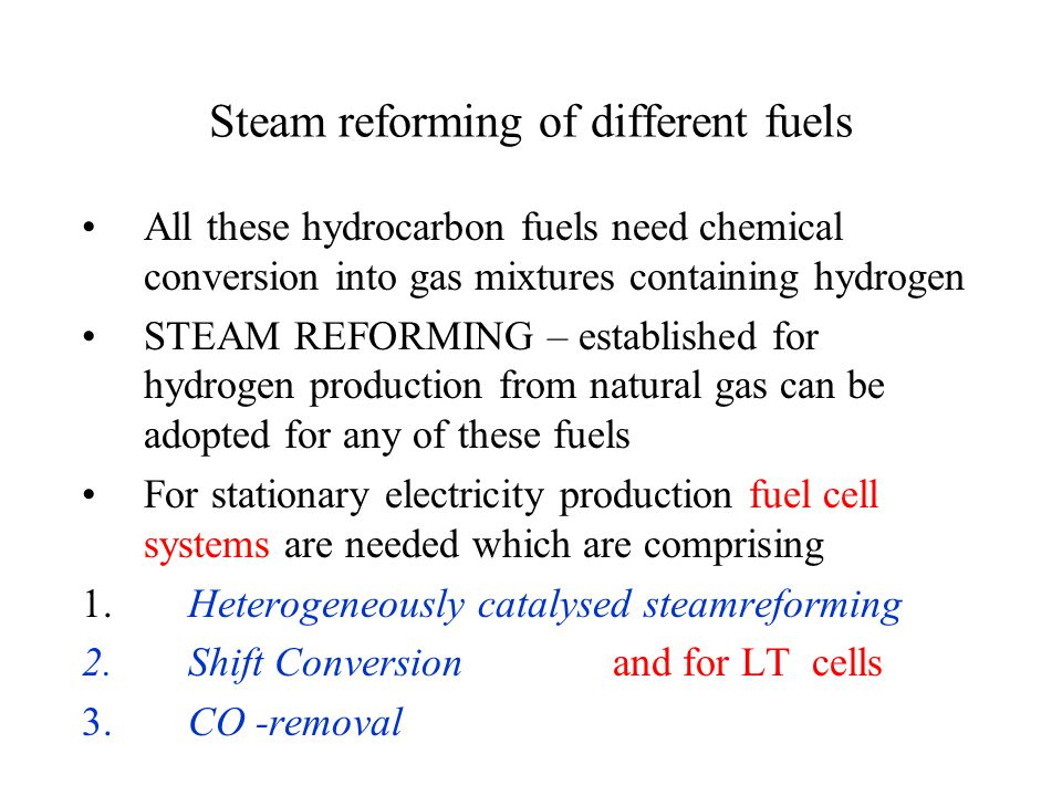 FuelCell NG anode exhaust 20% of initial H 2 to reformer ReformerProx Air,20% oxygen Steam Stack gas PEMFC process scheme Shift Cathode exhaust (8% oxygen) to reformer Reactors: