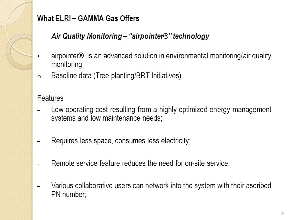 What ELRI – GAMMA Gas Offers – Air Quality Monitoring – airpointer® technology airpointer® is an advanced solution in environmental monitoring/air quality monitoring.