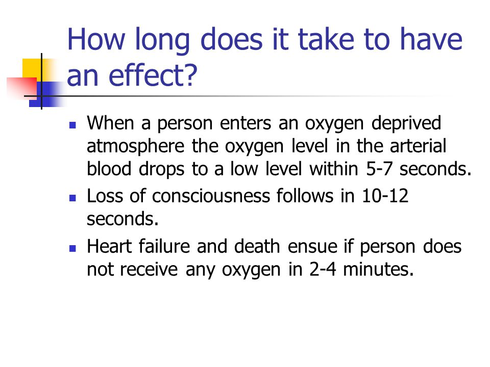 How long does it take to have an effect? When a person enters an oxygen deprived atmosphere the oxygen level in the arterial blood drops to a low leve