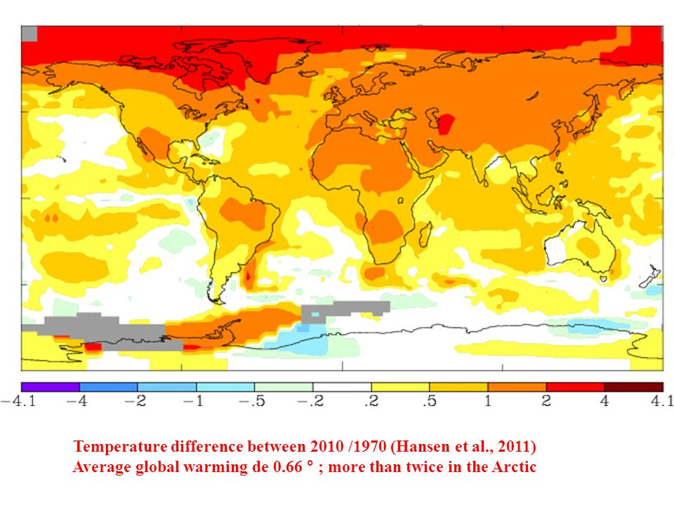 Temperature difference between 2010 /1970 (Hansen et al., 2011) Average global warming de 0.66 ° ; more than twice in the Arctic